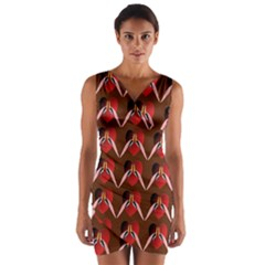 Peacocks Bird Pattern Wrap Front Bodycon Dress by Simbadda