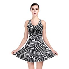 Digitally Created Peacock Feather Pattern In Black And White Reversible Skater Dress by Simbadda