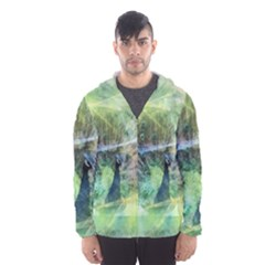 Digitally Painted Abstract Style Watercolour Painting Of A Peacock Hooded Wind Breaker (men) by Simbadda