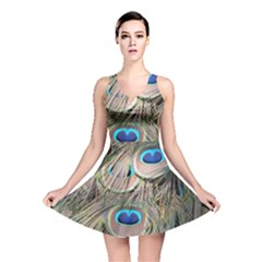 Colorful Peacock Feathers Background Reversible Skater Dress by Simbadda