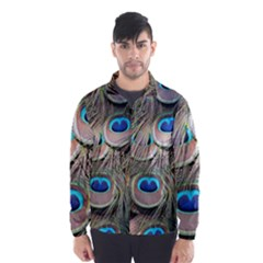 Colorful Peacock Feathers Background Wind Breaker (men) by Simbadda