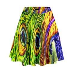 Glass Tile Peacock Feathers High Waist Skirt by Simbadda