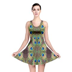 Beautiful Peacock Feathers Seamless Abstract Wallpaper Background Reversible Skater Dress by Simbadda