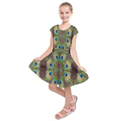 Beautiful Peacock Feathers Seamless Abstract Wallpaper Background Kids  Short Sleeve Dress by Simbadda