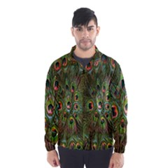 Peacock Feathers Green Background Wind Breaker (men) by Simbadda