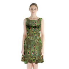 Peacock Feathers Green Background Sleeveless Chiffon Waist Tie Dress by Simbadda