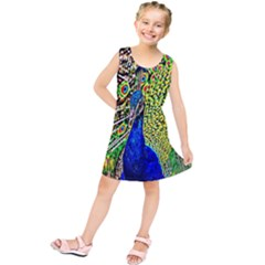 Graphic Painting Of A Peacock Kids  Tunic Dress by Simbadda