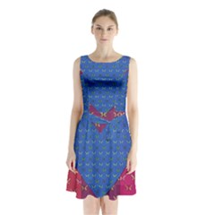 Butterfly Heart Pattern Sleeveless Chiffon Waist Tie Dress by Simbadda