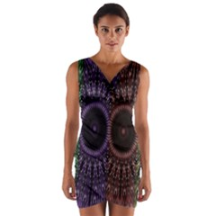 Digital Colored Ornament Computer Graphic Wrap Front Bodycon Dress by Simbadda