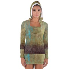 Aqua Textured Abstract Women s Long Sleeve Hooded T Shirt by theunrulyartist