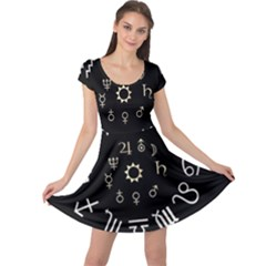Astrology Chart With Signs And Symbols From The Zodiac Gold Colors Cap Sleeve Dresses by Amaryn4rt