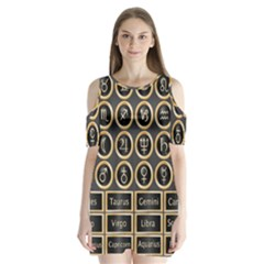 Black And Gold Buttons And Bars Depicting The Signs Of The Astrology Symbols Shoulder Cutout Velvet  One Piece by Amaryn4rt