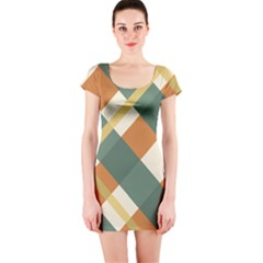 Autumn Plaid Short Sleeve Bodycon Dress by Alisyart