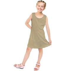 Golden Yellow Tablecloth Plaid Line Kids  Tunic Dress by Alisyart