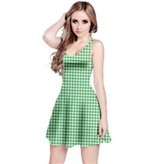 Green Tablecloth Plaid Line Reversible Sleeveless Dress by Alisyart
