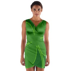 Leaf Clover Green Wrap Front Bodycon Dress by Alisyart
