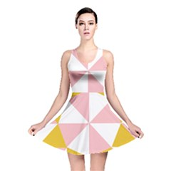 Learning Connection Circle Triangle Pink White Orange Reversible Skater Dress