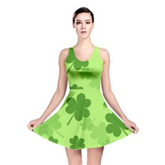 Leaf Clover Green Line Reversible Skater Dress