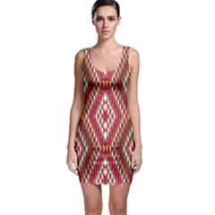Indian Pattern Sweet Triangle Red Orange Purple Rainbow Sleeveless Bodycon Dress by Alisyart