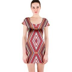 Indian Pattern Sweet Triangle Red Orange Purple Rainbow Short Sleeve Bodycon Dress