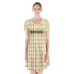Tomboy Line Yellow Red Short Sleeve V Neck Flare Dress by Alisyart