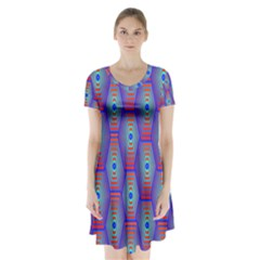 Red Blue Bee Hive Pattern Short Sleeve V Neck Flare Dress by Amaryn4rt