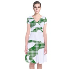 St  Patrick s Day Short Sleeve Front Wrap Dress by Valentinaart