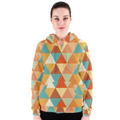 Triangles Pattern  Women s Zipper Hoodie