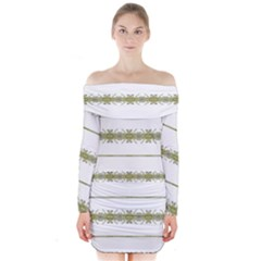 Ethnic Floral Stripes Long Sleeve Off Shoulder Dress by dflcprintsclothing