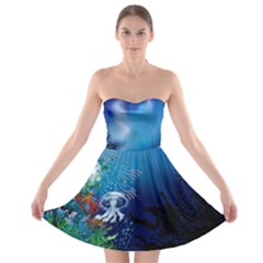 Jellyfish Sea  Strapless Bra Top Dress by Wanni