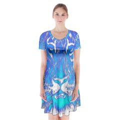 Background Fabric With Tiger Head Pattern Short Sleeve V-neck Flare Dress
