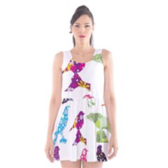 Birds Colorful Floral Funky Scoop Neck Skater Dress by Amaryn4rt