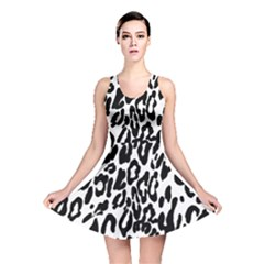 Black And White Leopard Skin Reversible Skater Dress by Amaryn4rt