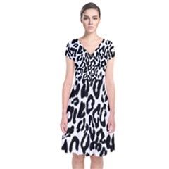 Black And White Leopard Skin Short Sleeve Front Wrap Dress by Amaryn4rt