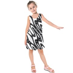 Black And White Wave Abstract Kids  Sleeveless Dress by Amaryn4rt