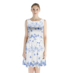 Blue And White Floral Background Sleeveless Chiffon Waist Tie Dress by Amaryn4rt