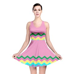 Easter Chevron Pattern Stripes Reversible Skater Dress by Amaryn4rt