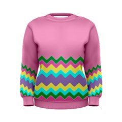 Easter Chevron Pattern Stripes Women s Sweatshirt by Amaryn4rt