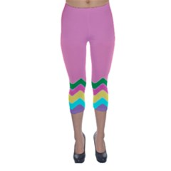 Easter Chevron Pattern Stripes Capri Winter Leggings  by Amaryn4rt