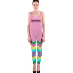 Easter Chevron Pattern Stripes Onepiece Catsuit by Amaryn4rt