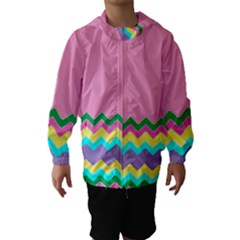 Easter Chevron Pattern Stripes Hooded Wind Breaker (kids) by Amaryn4rt