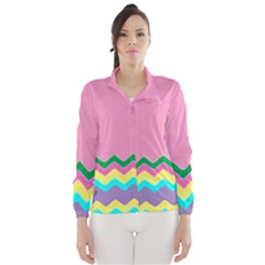 Easter Chevron Pattern Stripes Wind Breaker (women)