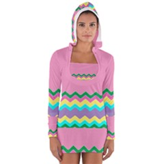 Easter Chevron Pattern Stripes Women s Long Sleeve Hooded T Shirt by Amaryn4rt