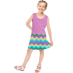 Easter Chevron Pattern Stripes Kids  Tunic Dress by Amaryn4rt