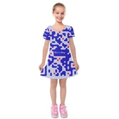 Digital Computer Graphic Qr Code Is Encrypted With The Inscription Kids  Short Sleeve Velvet Dress by Amaryn4rt
