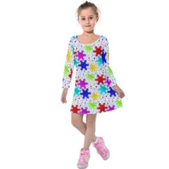 Snowflake Pattern Repeated Kids  Long Sleeve Velvet Dress by Amaryn4rt