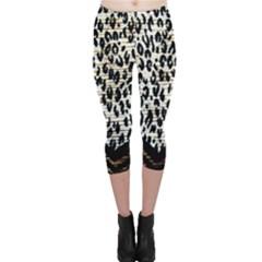 Tiger Background Fabric Animal Motifs Capri Leggings