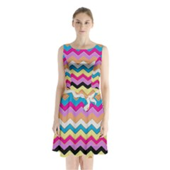 Chevrons Pattern Art Background Sleeveless Chiffon Waist Tie Dress by Amaryn4rt