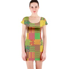 Old Quilt Short Sleeve Bodycon Dress by Valentinaart