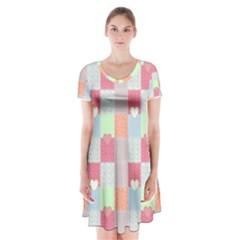 Patchwork Short Sleeve V-neck Flare Dress by Valentinaart